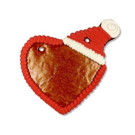Gingerbread heart with santa cap 16cm - blank with border