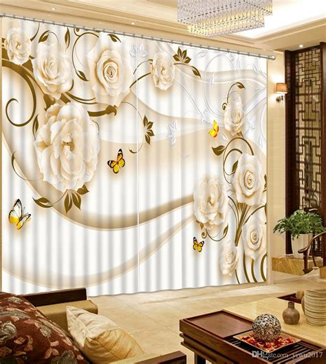 2020 European Luxury 3D Curtains For Living Room Rose