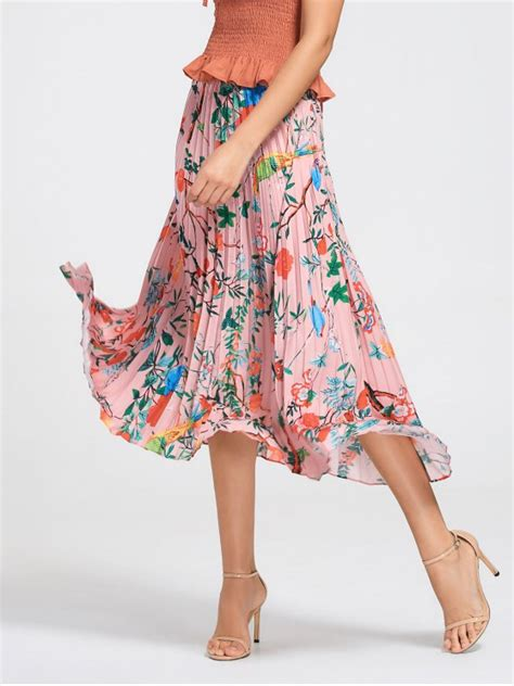 [22% OFF] 2021 Floral Maxi Pleated Skirt In FLORAL   ZAFUL