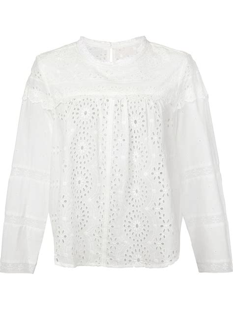 Lyst - Sea Broderie-Anglaise Blouse in White