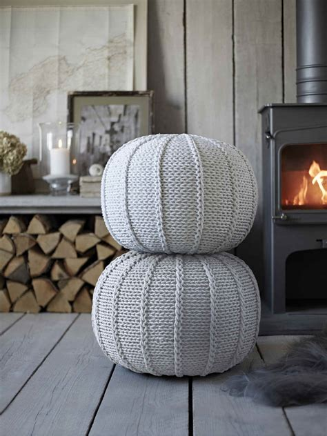 Knitted Poufs | White Knitted Pouf | Grey Pouf | Nordic House