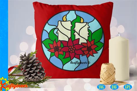 Christmas SVG   Faux Stained Glass Candles SVG, Cut File