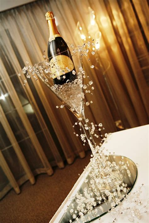 Martini Vase with Crystal Garland   Champagne centerpiece