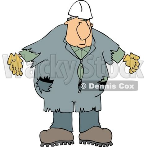 Male Worker Wearing Old Coveralls and a White Hard Hat