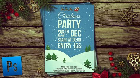 Christmas Party Flyer + PSD - Photoshop Tutorial - YouTube
