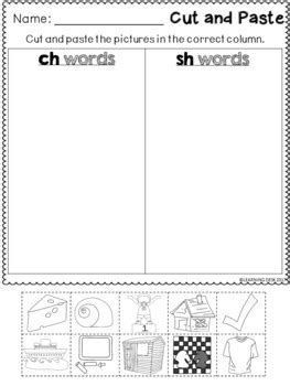 Consonant Digraphs sh th wh ch - Digraphs Worksheets by