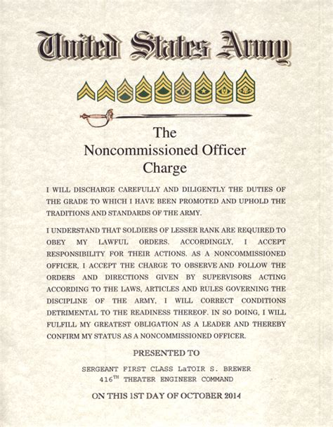 ARMY Noncommissioned Officer Charge