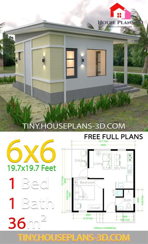One Bedroom House Plans 6x6 with Shed Roof - Tiny House Plans